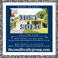 The Small Realty Group LLC is so excited to say JUST SOLD on this adorable home for our buyer! A special thanks to Lucy Innamorato Kranker and her team at Caliber Home Loans Treasure Coast for all of their work and dedication to making this happen! If you are looking to buy or sell in the Vero Beach area call Ron & Kim at 772.480.4660! thesmallrealtygroup.com  #JustSOLD #VeroBeach #Florida #buyer #newhome #VeroBeachRealestate #thesmallrealtygroup