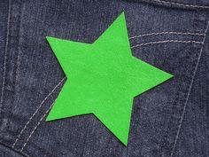 Stern (Größe L) hellgrün Bügelmotiv  90mm von Silwarin auf DaWanda.com
