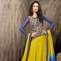 Neon Green and Blue Faux Georgette Abaya Style Churidar Kameez