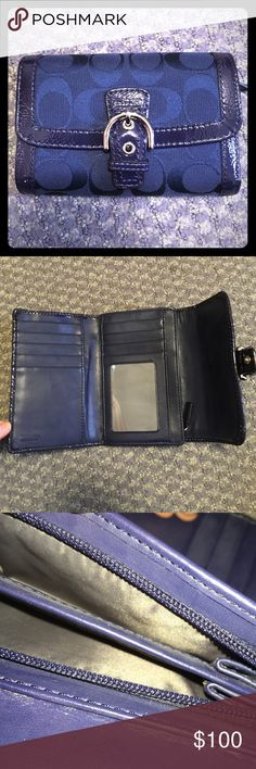 NEW WITHOUT TAGS     Navy Coach Wallet A brand new without tags Coach wallet I received as a gift! It has classic Coach logo embellishment all over, 9 card pockets, a clear plastic ID pocket, coin pocket, several inner pockets, and a secure clasp. Coach Bags Wallets