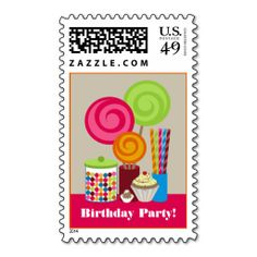 Candy and Sweets Birthday Party Postage Stamp. It is really great to make each letter a special delivery! Add a unique touch to invites or cards with your own photos or text. Just click the image to learn more!