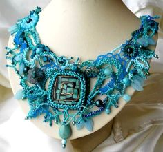 Beaded jewelry, Turquoise Freeform Peyote Necklace Ooak Art Jewelry Unique gift Summer fashion.