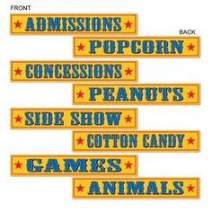 Decoratie Circus Sign cutouts -  Vier decoraties in circus stijl. Aan beide zijden verschillend bedrukt. Afmeting: 60 x 10cm. Leuk voor een circus themafeest, of gewoon als decoratie in een kinderkamer.