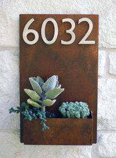Succulent+Hanging+Planter+&+Metal+Address+Plaque++by+UrbanMettle,+$250.00