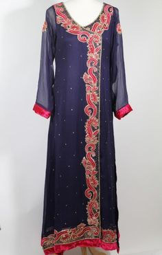 $210.00 Chiffon with churridar pajama velvet work available in medium