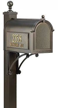 Whitehall Extended Length Deluxe Post & Brackets - French Bronze by Whitehall. $329.99. Constructed of die cast rust-free aluminum. Brackets: 2 - 10 D x 16 H inches. Post & Finial: 4 D x 4 W x 74 H inches. Available in 4 finishes. WHAT'S INCLUDED:Deluxe Post & BracketsDress up your mailbox mounting with the Whitehall Extended Length Deluxe Post & Brackets.This deluxe mailbox post (mailbox not included) comes with decorative brackets and an enhanced post finished. The elegan...