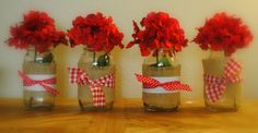 Made these from mason jars/spagetti sauce jars, burlap, fabric, and ribbon for my daughter strawberry theme birthday party:) So easy!