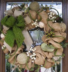 Burlap and moss spring wreath. Meredith this is our next wreath!  I love it!