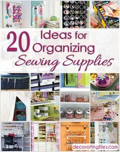 Keeping sewing supplies well organized makes it easier to work on projects. Control the clutter with these 20 clever ideas for organizing sewing supplies. Sewing Room Storage, Sewing Room Organization, My Sewing Room, Craft Room Storage, Craft Rooms, Quilt Studio, Sewing Crafts, Sewing Projects, Sewing Tips