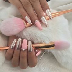 Via @customtnails1 Beautiful pink chrome! Get this look using our #ChromePowder, shop for it at DAILYCHARME.COM link in profile!