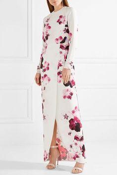 Elie Saab - Wrap-effect Floral-print Crepe Gown - White Floral Print Gowns, Printed Gowns, Floral Prints, Cornelia Webb, Rich Girl, Saree Blouse Designs, African Dress, Elie Saab, Summer Looks