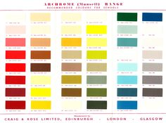 Archrome (Munsell) Colour Range. An account of this very influential collection of paint colours can be seen here - http://patrickbaty.co.uk/?p=10390