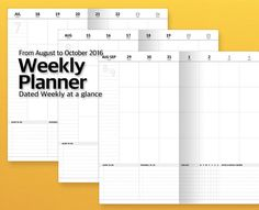 Simple Write, Think Hard!  These Monthly + Weekly Planner is a simple and flexible design. This planner is designed to help write freely to suit your style.  Printable digital product [ Dated Monthly + Weekly planner ] ● Specification - Size : Regular Size 110 x 210mm / 4.3 x 8.3(Travelers Notebook style) - Dated Monthly + Weekly planner : 2016 October-December in 36 pages Booklets == Cover  == Month on 2 pages : Total 3 months, 6 pages ------ Simple monthly at a gla...
