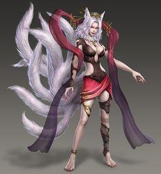 9tailedfox-wo3u_Warriors Orochi (series),Kyubi no Kitsune__Kyubi no Kitsune is Tamamo's true form when the power of the Shinkyō is used on her.