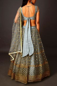 Merlin grey geometric sequinned lehenga with embroidered blouse (unstitched) and embroidered net dupatta. Blouse Back Neck Designs, Stylish Blouse Design, Fancy Blouse Designs, Lehenga Choli Designs, Saree Blouse Designs, Sari Bluse, Lehenga Blouse, Tie Blouse, Sleeveless Blouse