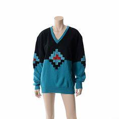 Vintage 80s Southwestern Suede Leather Sweater by CkshopperVintage