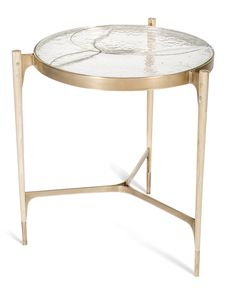 Stites Side Table  MidCentury  Modern, Rustic  Folk, Glass, Metal, Side Table by John Pomp Studios