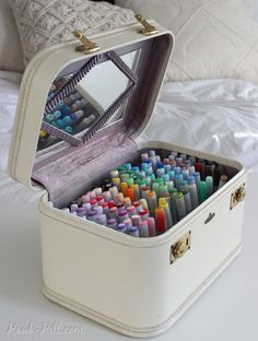 This creative method for marker storage stows your art suppliesYou can find Art supplies and more on our website.This creative method for marker storage stows your art s. Art Supplies Storage, Craft Room Storage, Craft Organization, Organizing Art Supplies, Storage Ideas, Creative Storage, Craft Rooms, Tool Storage, Organising