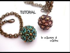 Tutorial Sfera Rivestita con Twin Beads / Superduo, Bicono e Perle Swarovski - Beaded Bead - YouTube