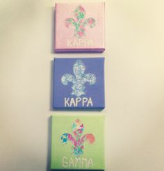 Kappa Kappa Gamma sorority craft lilly fleur de . I love these colors and prints. I'd just change up the letters a bit!