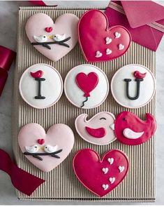 Cookies Cupcake, Fancy Cookies, Iced Cookies, Cute Cookies, Cookies Et Biscuits, Heart Cookies, Sugar Cookies, Flower Cookies, Baking Cupcakes