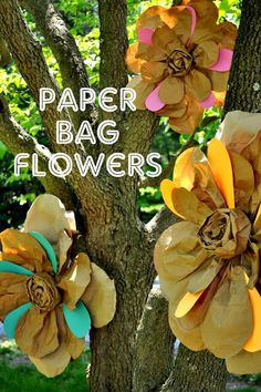 Shannanigans: Paper Bag Flower Tutorial Big decoration, easy to make Paper Bag Crafts, Fun Crafts, Diy And Crafts, Crafts For Kids, Paper Bags, Diy Paper, Kraft Paper, Tissue Paper, Paper Bag Flowers