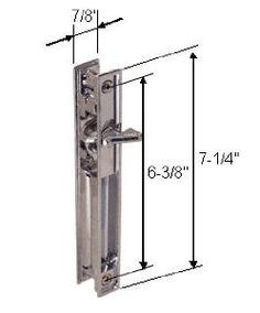 """Chrome Non-Keyed Sliding Glass Door Handle Set; 6-3/8"""" Screw holes for Miller (Mil-Door) by C.R. Laurence. $73.33. Designed for Miller Industries Doors (Mil-Door). The hook is reversible for left or right handing. Nite-lock is included. Important Note: THIS PRODUCT NO LONGER COMES WITH A KEY LOCK. Material: Die cast metal. Finish: Chrome. Minimum Order: 1 set (one inside latch and pull, outside pull and installation fasteners per package). If a keeper is needed, please, use ..."""