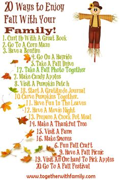 20 ways for your family to enjoy fall together! Free printable, great for framing or your fridge!