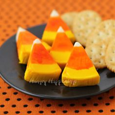 Hungry Happenings: Laughing Cow Candy Corn (Cheese Wedge Halloween Snack)  A little salty to go with all that sweet. SO CUTE!