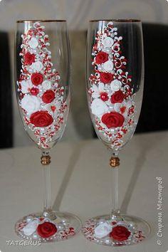 Декор предметов Свадьба Лепка красно-белое с продолжением Пластика фото 1