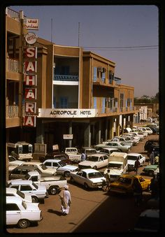 Sudan, Khartoum, Acropole Hotel. We drove down this street so many times, people drive however they want and park wherever they like!