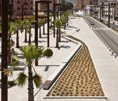 El jardín de Umm Hakim. Espacio público sobre la desembocadura del Rio de la Miel. Algeciras.
