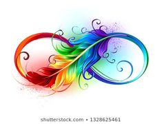Artistically drawn infinity symbol with beautiful rainbow feather on white backg. - Artistically drawn infinity symbol with beautiful rainbow feather on white background. Kunst Tattoos, Body Art Tattoos, Tattoo Drawings, Tattoos Skull, Moon Tattoos, Celtic Tattoos, Animal Tattoos, Feather Drawing, Feather Tattoo Design