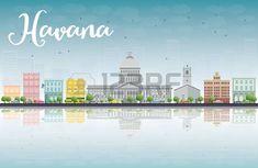 La Habana Skyline con edificios de color y el cielo azul. Ilustración vectorial