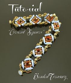 Crescent Squares - beading pattern, beaded bracelet tutorial, beadweaving, crescent triangle bead pattern / TUTORIAL ONLY