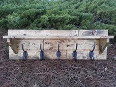 Rustic plank wall shelf coat hanger by CoastalOakDesigns on Etsy, $140.00