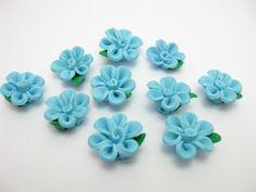 fimo flower beads B by ThirdEarDear on Etsy, $1.00