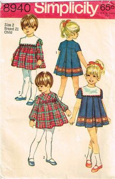 Child Dress Detachable Collar Back Zipper High Neckline Toddler Girls Simplicity 8940 Sewing Pattern by PeoplePackages