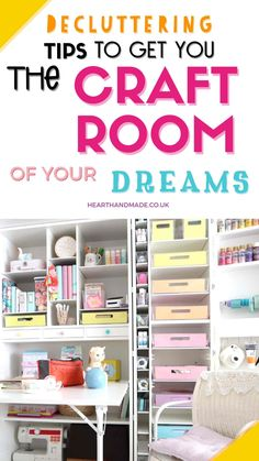 In need of some decluttering tips to get you the craft room your dreams? Finding any motivation can be incredibly difficult so let me help you Diy Craft Projects, Decor Crafts, Home Crafts, Diy Home Decor, Craft Ideas, Room Paint Colors, Paint Colors For Living Room, Craft Storage, Storage Ideas