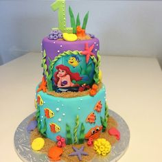 Little Mermaid Little Mermaid Birthday Cake, Little Mermaid Cakes, My Little Pony Cake, Elsa Birthday, Little Mermaid Parties, Birthday Cake Girls, Birthday Fun, Sirenita Cake, Jasmine Cake