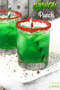 The Grinch Punch - a deliciously green punch that is as mean as Mr. Grinch (not really). It's sweet, it's sour, it's everything you could want in a Christmas punch. #thegrinch #grinchpunch #grinchrecipes #greenpunch #partypunch #christmasrecipes | simplisticallyliving.com