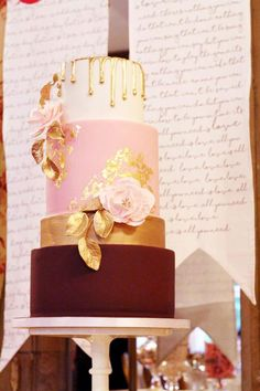 Metallic Drip Wedding Cakes from The Confetti Cakery ~ such a unique cake with gold leaf, gold sugar leaves and stamens and gold drip: pure elegance!