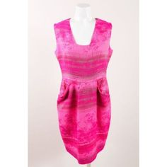 Pre-Owned Lela Rose Neon Pink Metallic Gold Cotton Blend Sleeveless... (140 CHF) ❤ liked on Polyvore featuring dresses, pink, pink sheath dress, neon pink dress, pink dress, sheath dress and sleeveless sheath dress