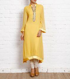 Fusion Wear - Women (Page My Wardrobe, Kurti, Cool Designs, Cold Shoulder Dress, Women Wear, Tunic, Saree, Yellow, Tees