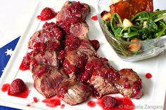 Seared Kangaroo Fillet Steaks with Raspberry Glaze