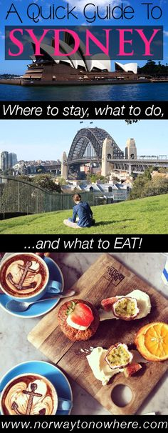 A quick guide to fascinating Sydney, Australia. Find out where to rest your head at night, what to do and the best places to eat/drink on your vacation! http://www.norwaytonowhere.com/weekend-getaway-a-guide-to-sydney-australia/