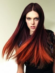 another style of red ombre hair