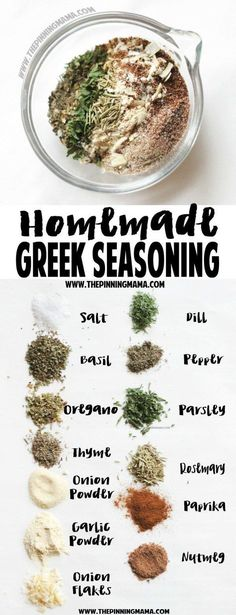 Homemade Greek Seasoning- SO DELICIOUS! Plus it is naturally a paleo compliant gluten free dairy free sugar free and low carb recipe Homemade Spices, Homemade Seasonings, Homemade Recipe, Homemade Ranch Seasoning, Homemade Spice Blends, Paleo Recipes, Cooking Recipes, Cooking Tips, Smoker Recipes