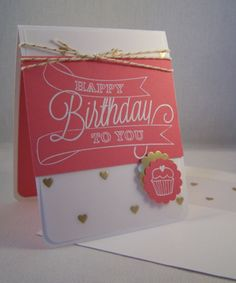Stampin' Up!, Another Great Year, Strawberry Slush, Gold Foil Vellum, White Heat Embossing. Love the way the white embossing pops on the Strawberry Slush cardstock!