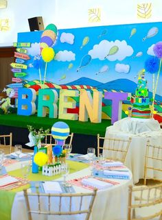 Dining Tables + Backdrop from an Oh the Places You'll Go Dr. Seuss Party via Kara's Party Ideas | KarasPartyIdeas.com (21)